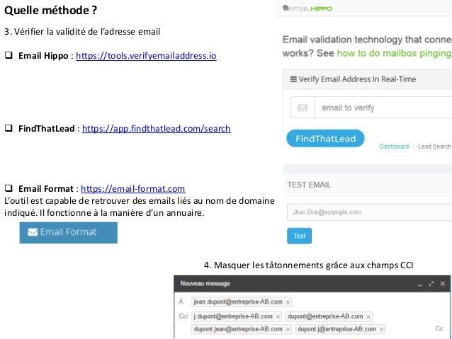 Quelle méthode ? 3. Vérifier la validité de l'adresse email  Email Hippo : https://tools.verifyemailaddress.io  FindThat...