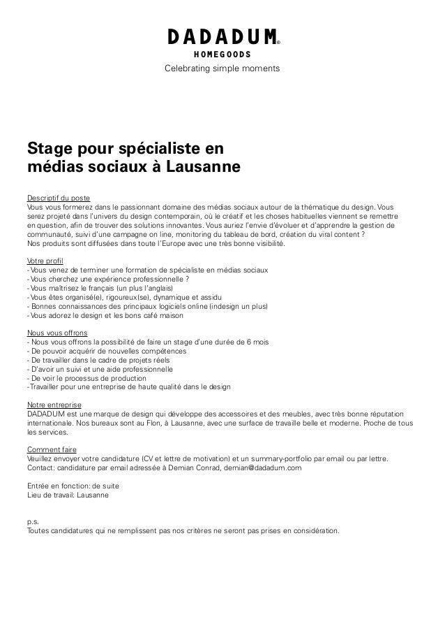 Candidature Stage Specialiste En Medias Sociaux