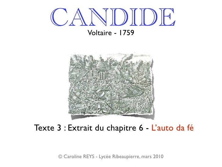 Voltaire Candide Chapitre 6 Lauto Da Fé