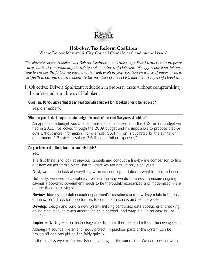 Hoboken Tax Reform Coalition          Where Do our Mayoral & City Council Candidates Stand on the Issues?  The objective o...