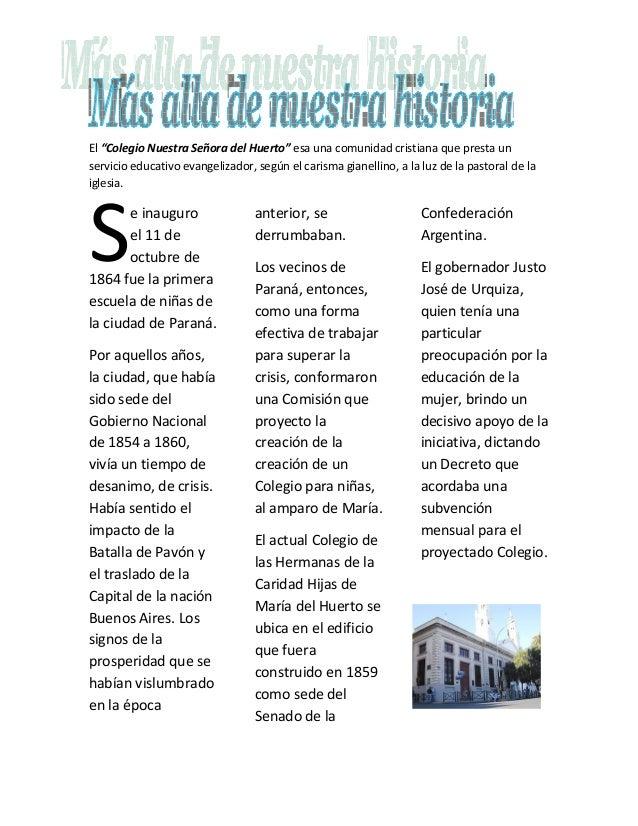 """El """"Colegio Nuestra Señora del Huerto"""" esa una comunidad cristiana que presta un servicio educativo evangelizador, según e..."""