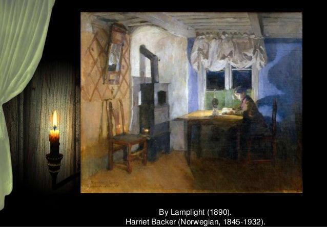 Woman Reading by Lamplight. Carl Vilhelm Holsøe (Danish, 1863-1935).