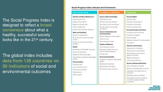 The Social Progress Index is designed to reflect a broad consensus about what a healthy, successful society looks like in ...