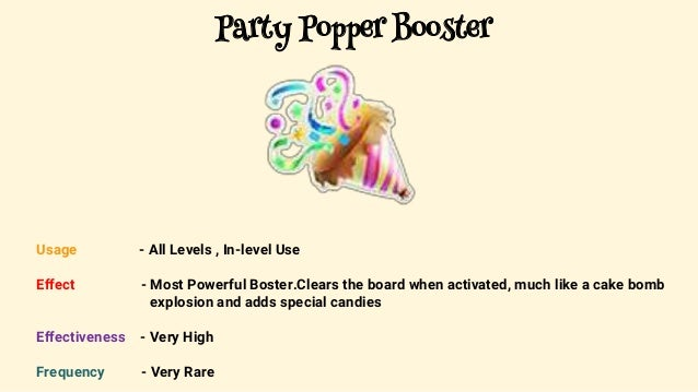 Candy crush party popper boosters
