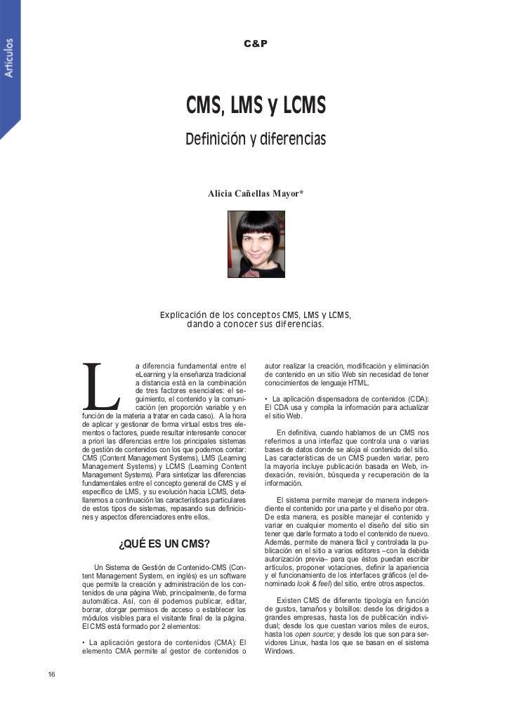 C&P                                        CMS, LMS y LCMS                                        Definición y diferencias ...