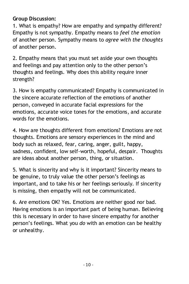 Empathy training exercises for adults