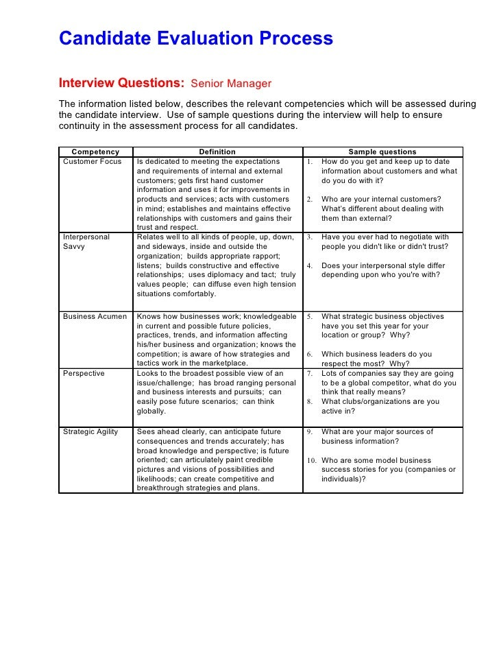 Candidate Evaluation Form For Interview Image Gallery - Hcpr