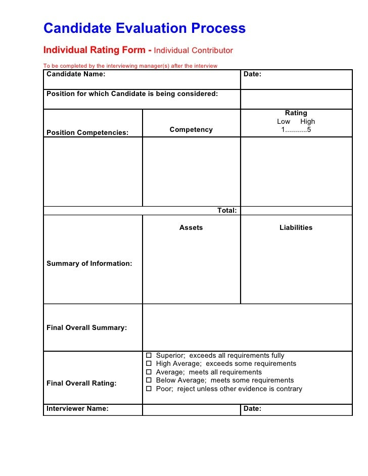 candidate interview evaluation form Job interview evaluation form.