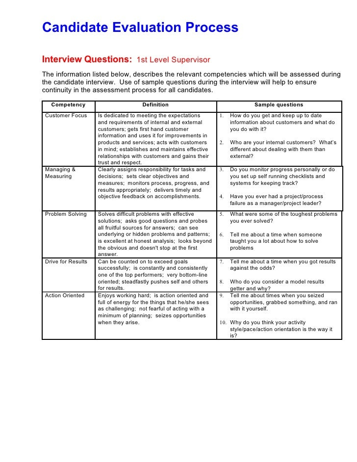 Sample Interview Evaluation Enterprise Interview Evaluation Form