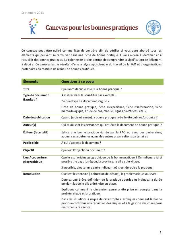 Septembre 2013 1 Canevaspourlesbonnespratiques Ce canevas peut être utilisé comme liste de contrôle afin de vérifier si vo...
