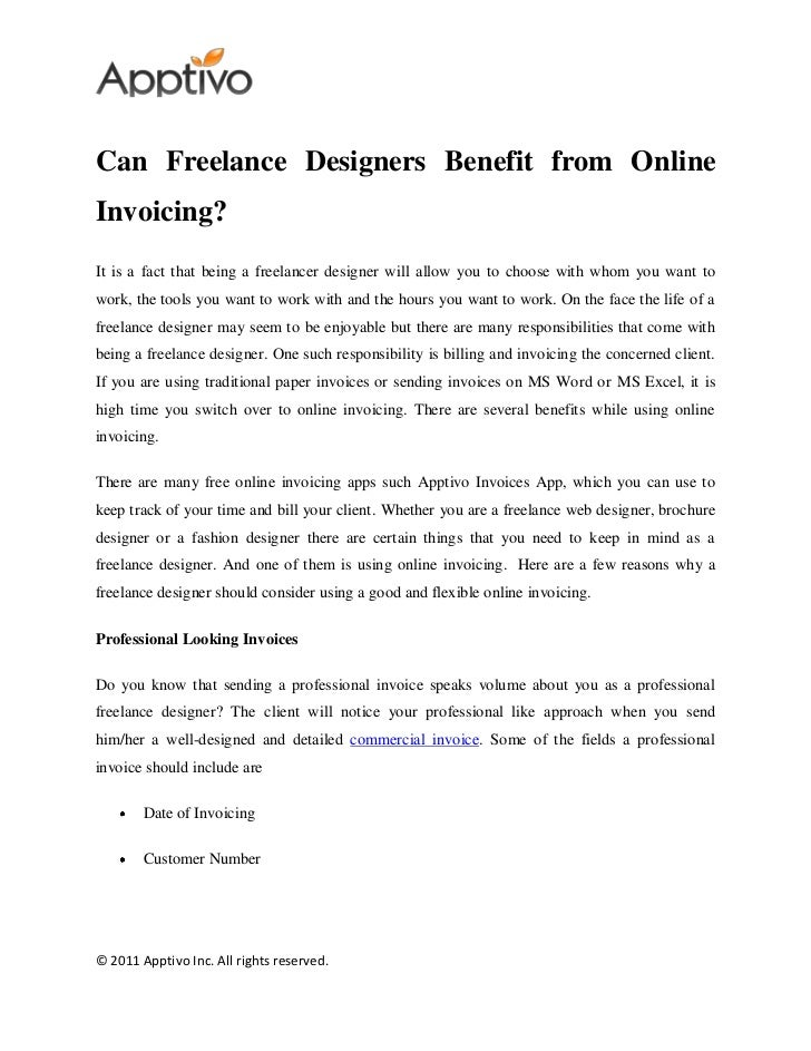 Can Freelance Designers Benefit From Online Invoicing - Online invoices inc