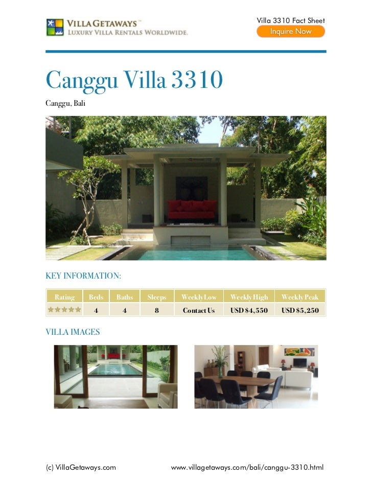 Villa 3310 Fact SheetCanggu Villa 3310Canggu, BaliKEY INFORMATION:  Rating       Beds     Baths   Sleeps     Weekly Low   ...