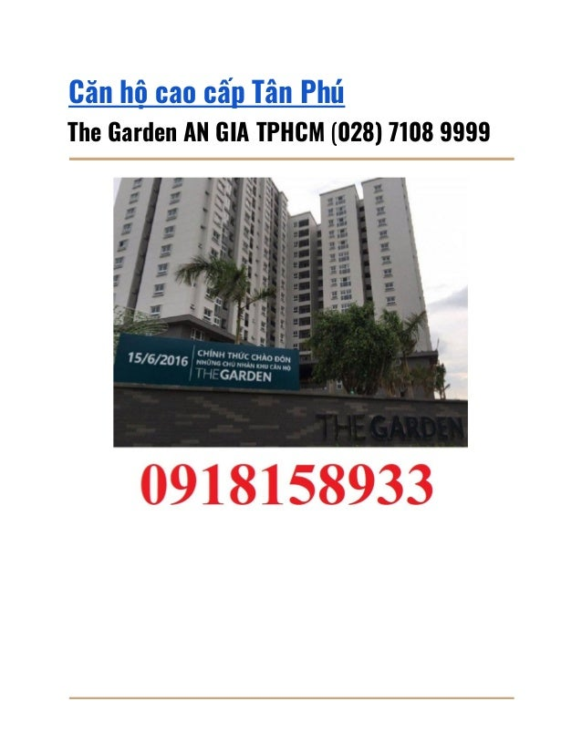 Căn hộ cao cấp Tân Phú The Garden AN GIA TPHCM (028) 7108 9999