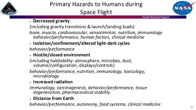 Human Research Program 21 Primary Hazards to Humans during Space Flight  Decreased gravity (including gravity transitions...