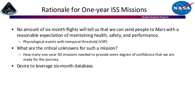 Human Research Program Rationale for One-year ISS Missions • No amount of six-month flights will tell us that we can send ...