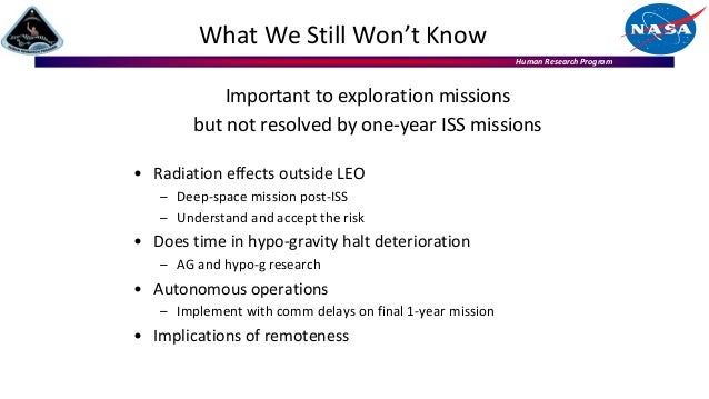 Human Research Program Important to exploration missions but not resolved by one-year ISS missions • Radiation effects out...