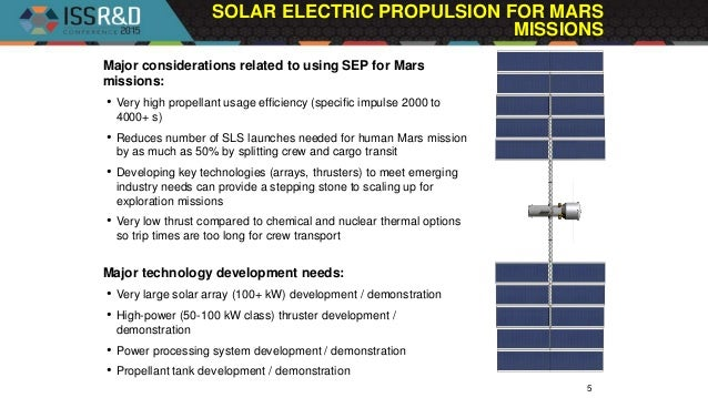 SOLAR ELECTRIC PROPULSION FOR MARS MISSIONS 5 Major considerations related to using SEP for Mars missions: • Very high pro...