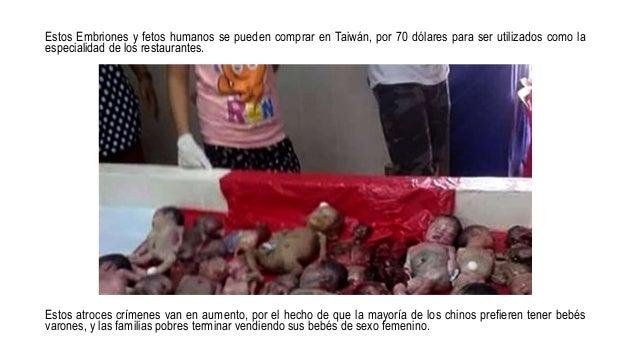 Estos Embriones y fetos humanos se pueden comprar en Taiwán, por 70 dólares para ser utilizados como la especialidad de lo...