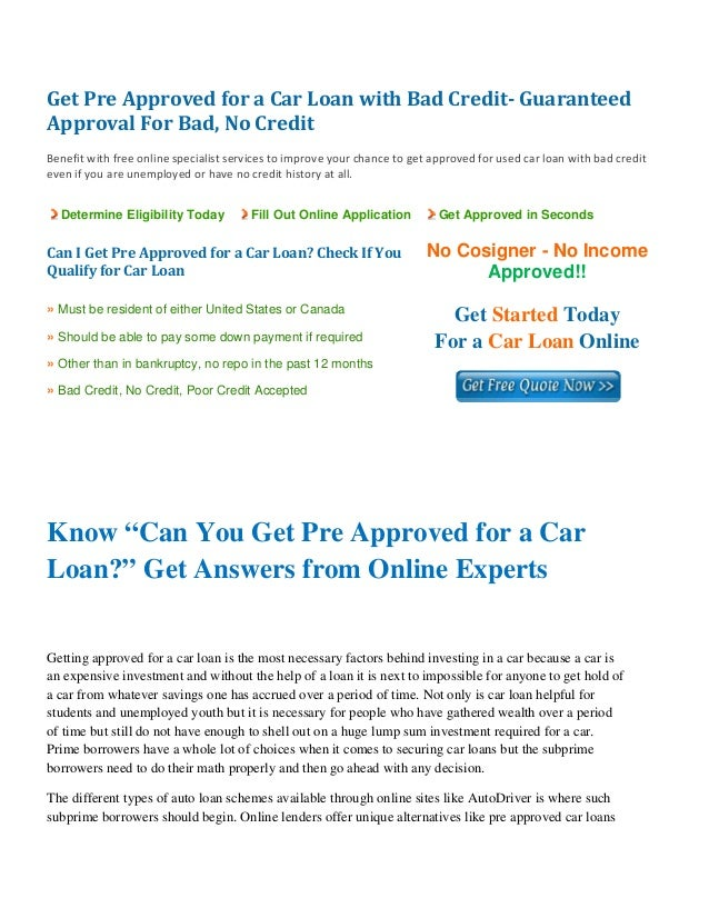 Get Pre Approved For A Car Loan Online