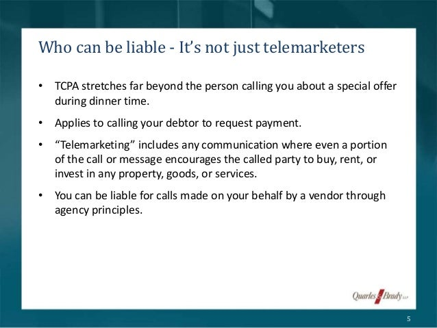 Telemarketers 5 O 1991 Law