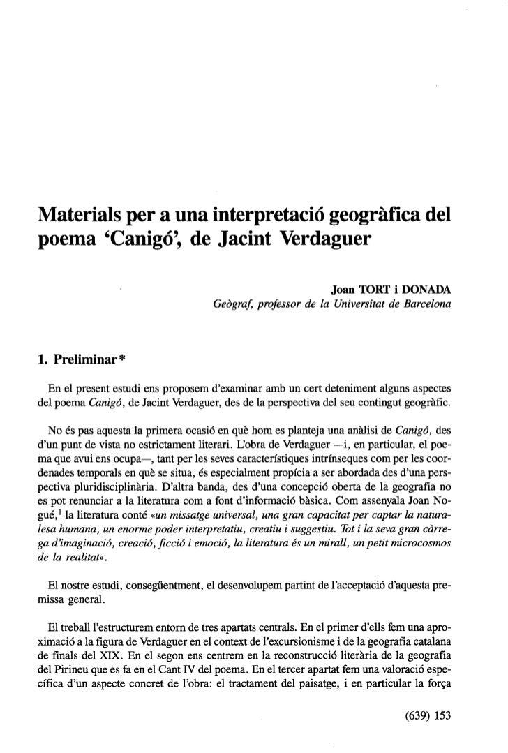 Materials per a una interpretació geográfica delpoema Canigó, de Jacint Verdaguer                                         ...