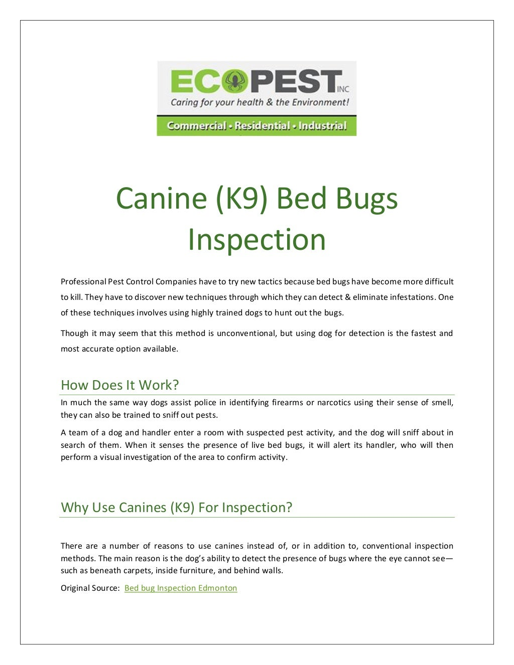 Say Goodbye to Bed Bugs: Get Canine (K9) Bed Bug Inspection From Ecopest