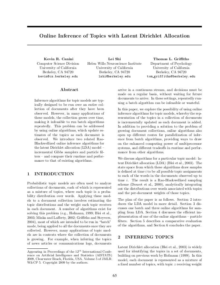 Online Inference of Topics with Latent Dirichlet Allocation          Kevin R. Canini                            Lei Shi   ...