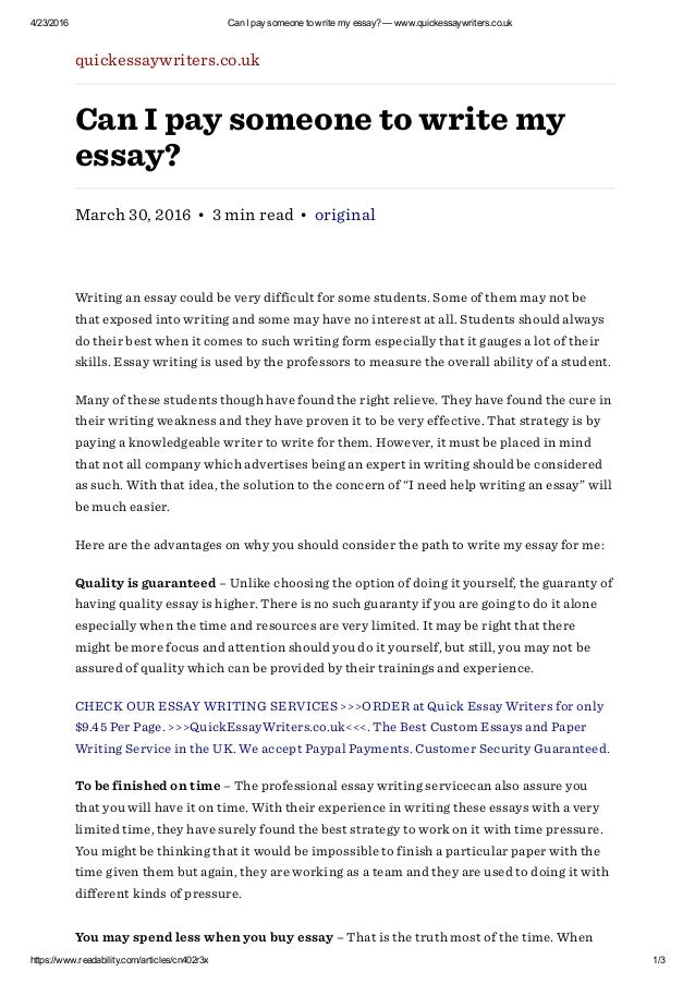 Can I Pay Someone To Write My Essay Quickessaywriters Co Uk