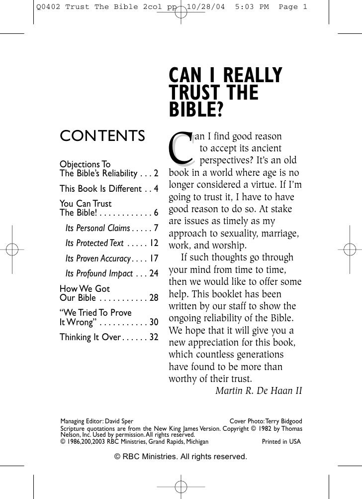 CAN I REALLY                                        TRUST THE                                        BIBLE?               ...