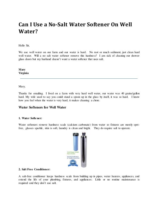 can i use a no salt water softener on well water - No Salt Water Softener