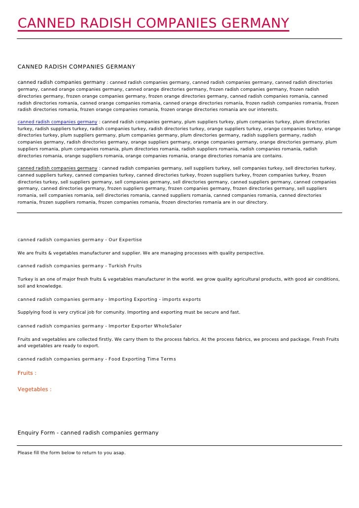 CANNED RADISH COMPANIES GERMANYCANNED RADISH COMPANIES GERMANYcanned radish companies germany : canned radish companies ge...