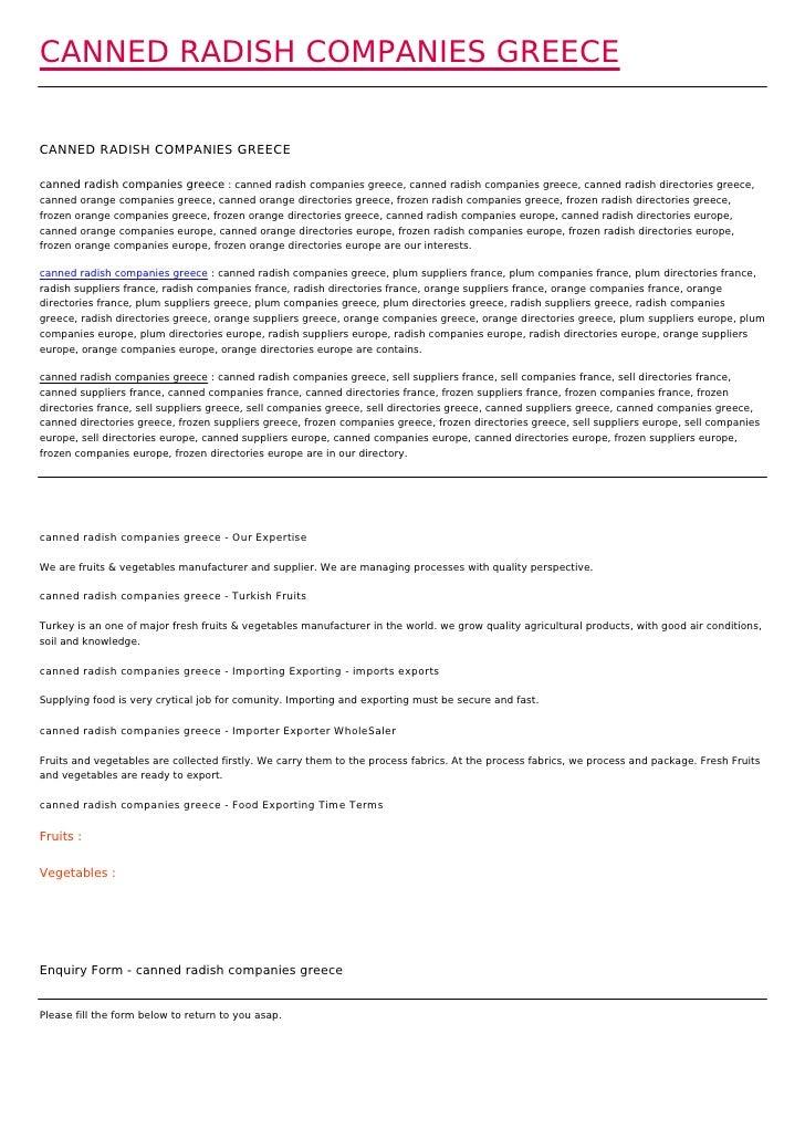 CANNED RADISH COMPANIES GREECECANNED RADISH COMPANIES GREECEcanned radish companies greece : canned radish companies greec...