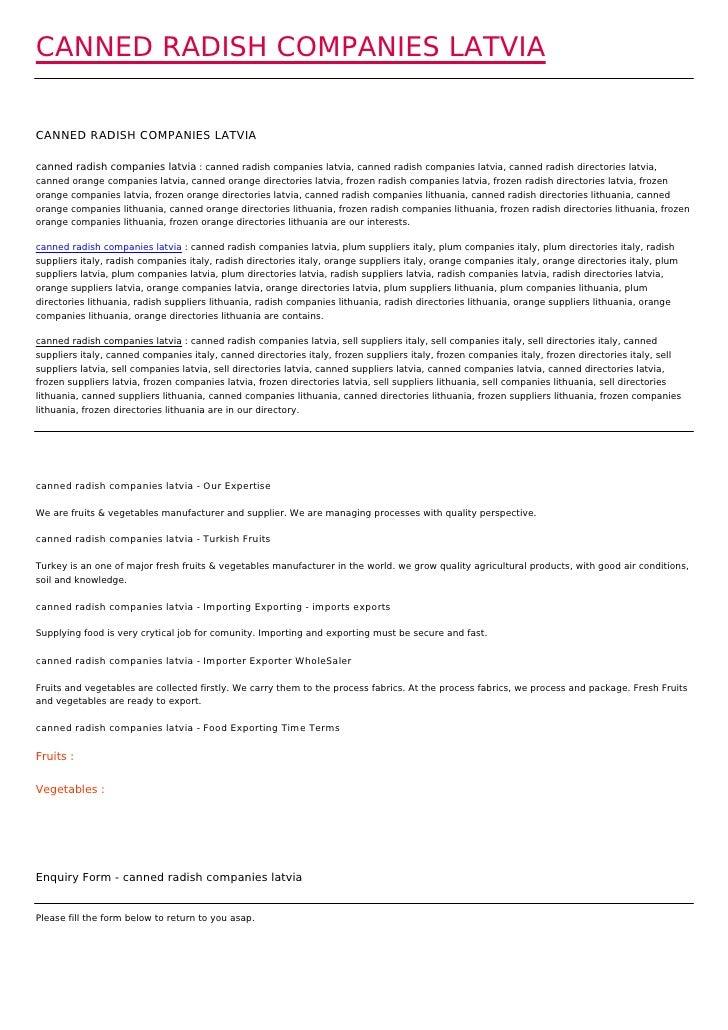 CANNED RADISH COMPANIES LATVIACANNED RADISH COMPANIES LATVIAcanned radish companies latvia : canned radish companies latvi...