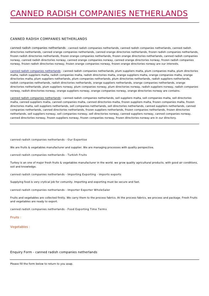 CANNED RADISH COMPANIES NETHERLANDSCANNED RADISH COMPANIES NETHERLANDScanned radish companies netherlands : canned radish ...