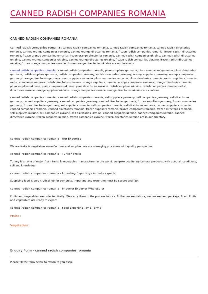 CANNED RADISH COMPANIES ROMANIACANNED RADISH COMPANIES ROMANIAcanned radish companies romania : canned radish companies ro...