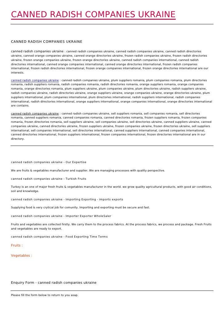 CANNED RADISH COMPANIES UKRAINECANNED RADISH COMPANIES UKRAINEcanned radish companies ukraine : canned radish companies uk...