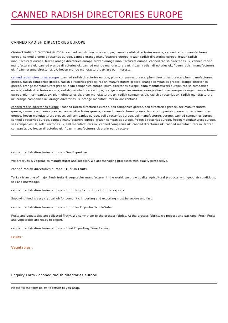 CANNED RADISH DIRECTORIES EUROPECANNED RADISH DIRECTORIES EUROPEcanned radish directories europe : canned radish directori...