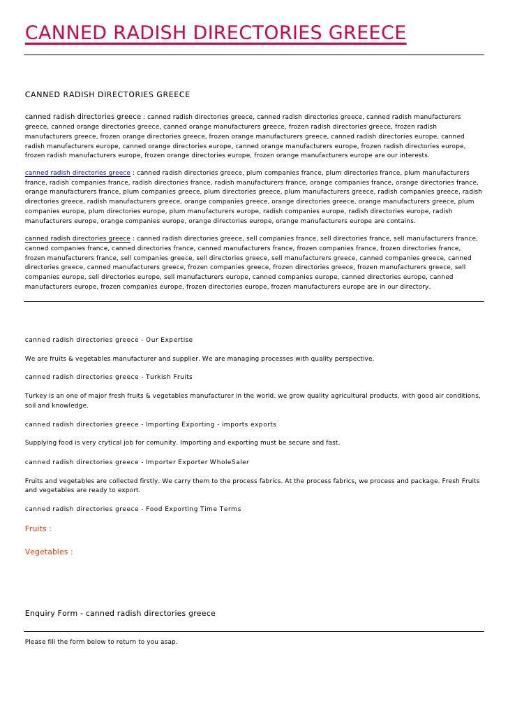 CANNED RADISH DIRECTORIES GREECECANNED RADISH DIRECTORIES GREECEcanned radish directories greece : canned radish directori...