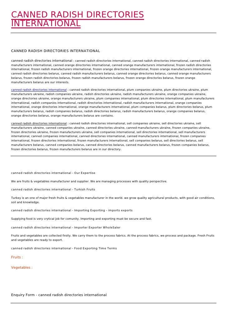 CANNED RADISH DIRECTORIESINTERNATIONALCANNED RADISH DIRECTORIES INTERNATIONALcanned radish directories international : can...