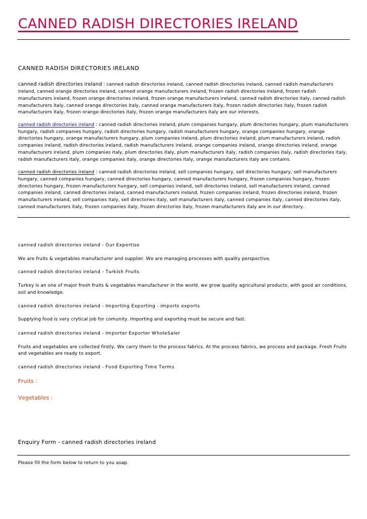 CANNED RADISH DIRECTORIES IRELANDCANNED RADISH DIRECTORIES IRELANDcanned radish directories ireland : canned radish direct...