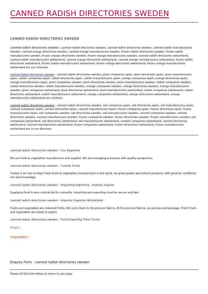 CANNED RADISH DIRECTORIES SWEDENCANNED RADISH DIRECTORIES SWEDENcanned radish directories sweden : canned radish directori...