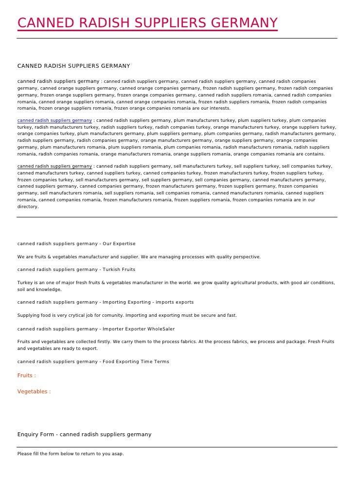CANNED RADISH SUPPLIERS GERMANYCANNED RADISH SUPPLIERS GERMANYcanned radish suppliers germany : canned radish suppliers ge...