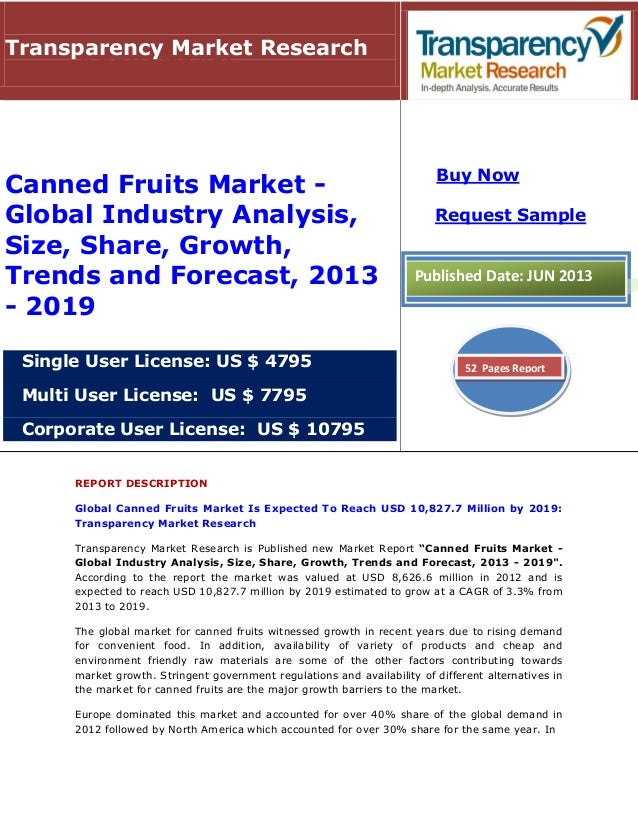 global canned food market Global canned food market research report 2017 is a market research report available at us $2900 for a single user pdf license from rnr market research reports library.
