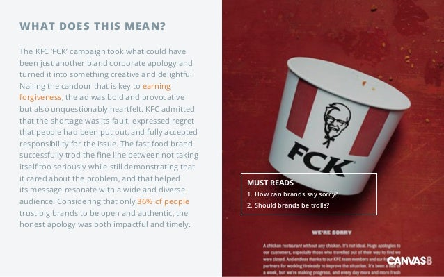 WHAT DOES THIS MEAN? The KFC 'FCK' campaign took what could have been just another bland corporate apology and turned it i...