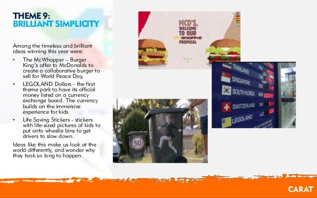 02/08/2016 10 THEME 9: BRILLIANT SIMPLICITY Among the timeless and brilliant ideas winning this year were: • The McWhopper...