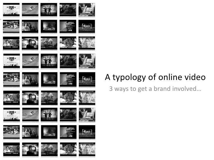 A typology of online video<br />3 ways to get a brand involved…<br />