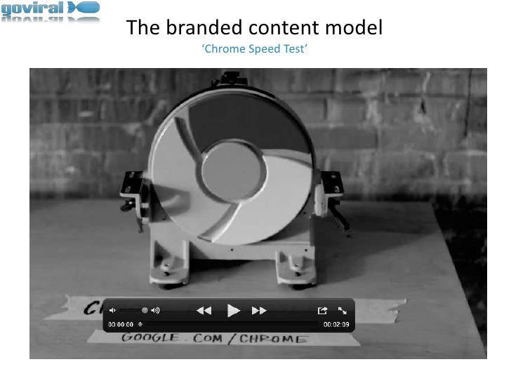 The branded content model'Chrome Speed Test'<br />
