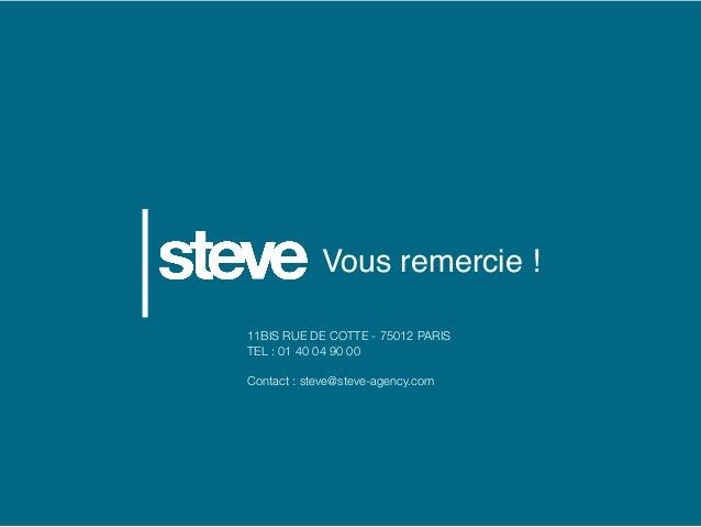 Vous remercie ! 11BIS RUE DE COTTE - 75012 PARIS TEL : 01 40 04 90 00 Contact : steve@steve-agency.com