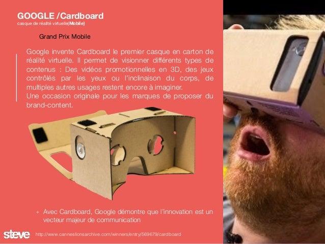 Google invente Cardboard le premier casque en carton de réalité virtuelle. Il permet de visionner différents types de cont...