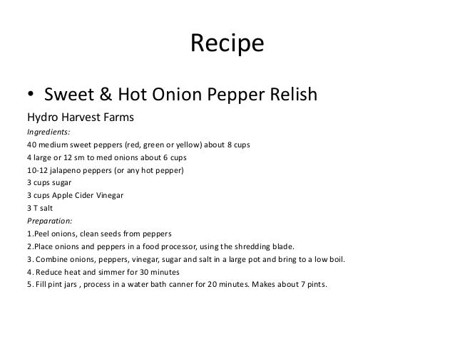 What are some pepper and onion relish recipes?